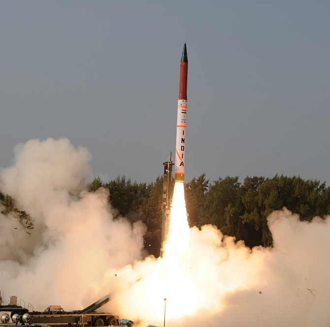 India tests its short-range nuclear capable ballistic missile Agni-1.