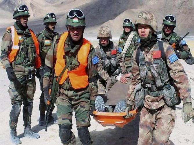 Indian and Chinese border troops conducted the first 'joint tactical exercise' in the Chushul-Moldo area of Ladakh, February 2016. Photograph: PTI