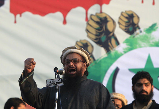 Muhamad Saeed, the Lashkar-e-Tayiba terrorist, speaks at an anti-India rally in Islamabad, February 6, 2016. Photograph: Faisal Mahmood/Reuters