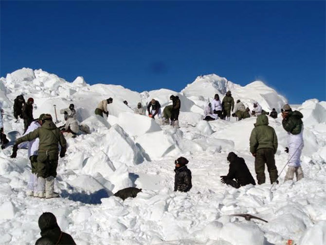 The Indian Army's rescue operation at the Siachen glacier to located 10 soldiers buried in an avalanche.