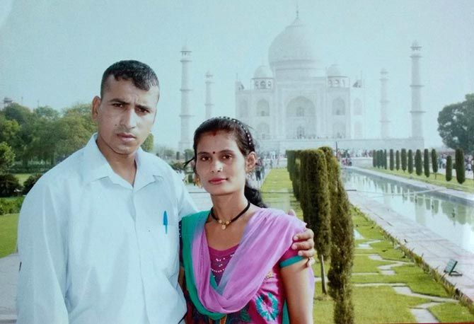 The couple at the Taj Mahal in Agra