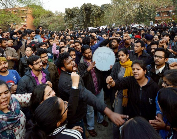 IMAGE: JNU students protest against the police crackdown at the campus. Photograph: PTI