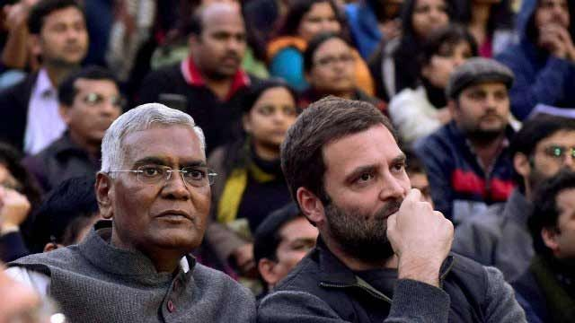 D Raja with Rahul Gandhi at JNU