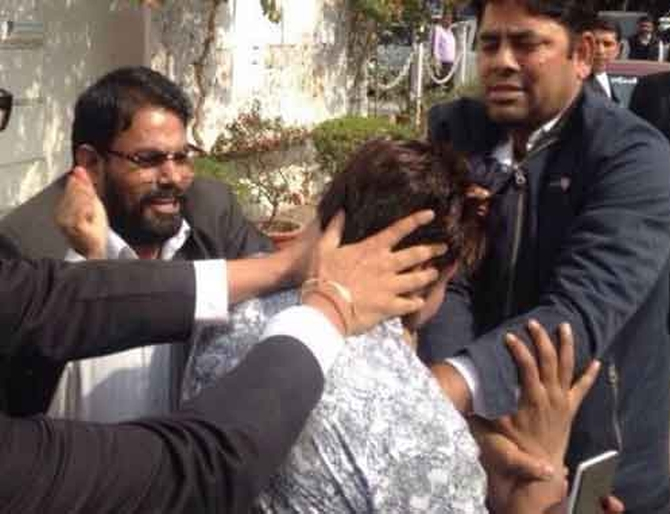 Lawyers attack on the Patiala House court premises in New Delhi.