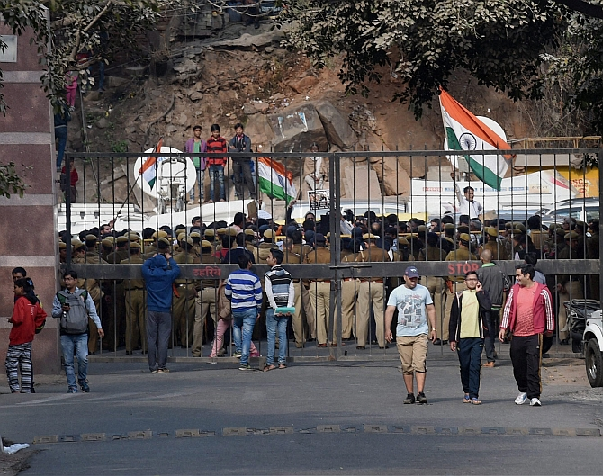 JNU during the agitation, February 2016