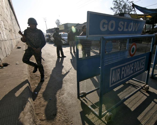 Security operations near the Indian Air Force base in Pathankot. Photograph: Mukesh Gupta/Reuters
