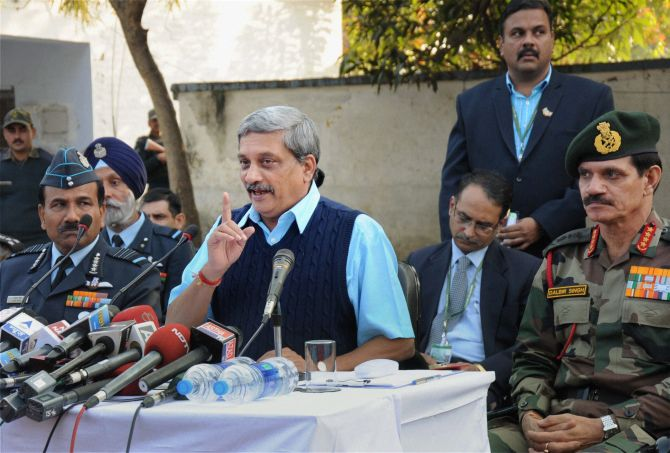 Then defence minister Manohar Parrikar at the Indian Air Force base in Pathankot after the terrorist attack. Photograph: PTI Photo