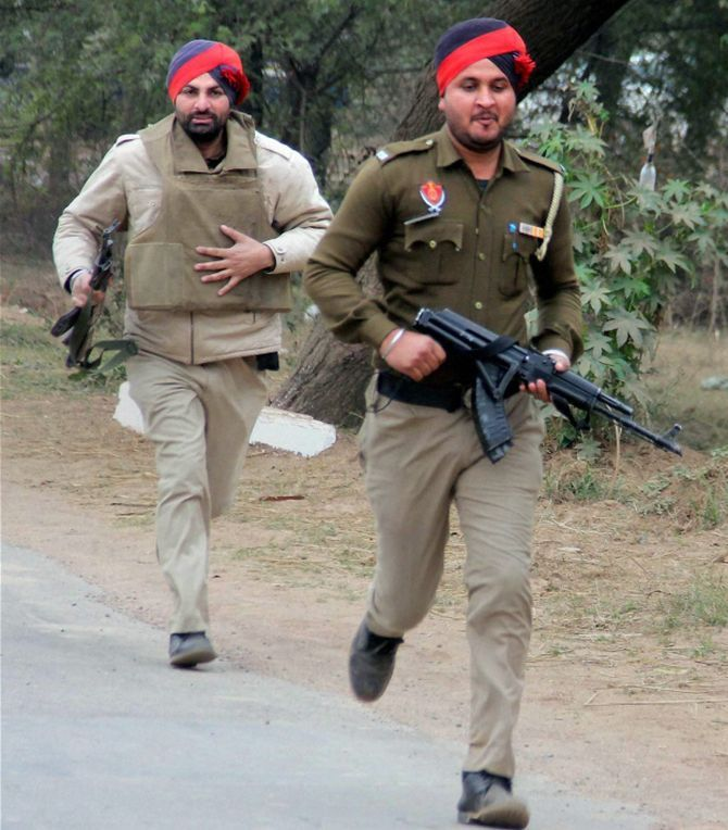 Security personnel at the Pathankot airbase.