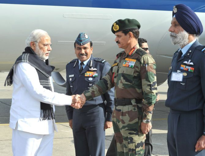 Prime Minister Narendra Modi arrives at the Pathankot airbase, January 9, 2016.