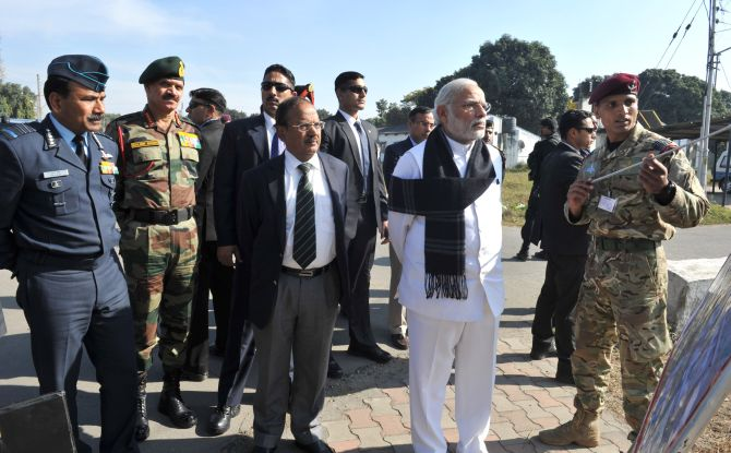 Prime Minister Narendra Modi with Air Chief Marshal Arup Raha, General Dalbir Singh and National Security Adviser Ajit Doval at the Pathankot airbase, January 9. Photograph: Press Information Bureau