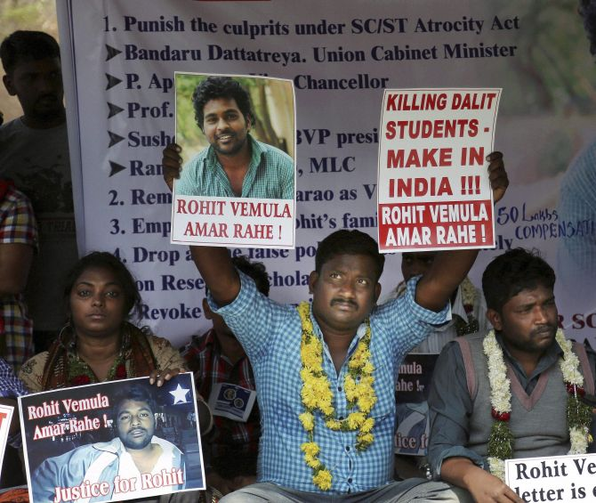 Students protest the death of Rohith Vemula
