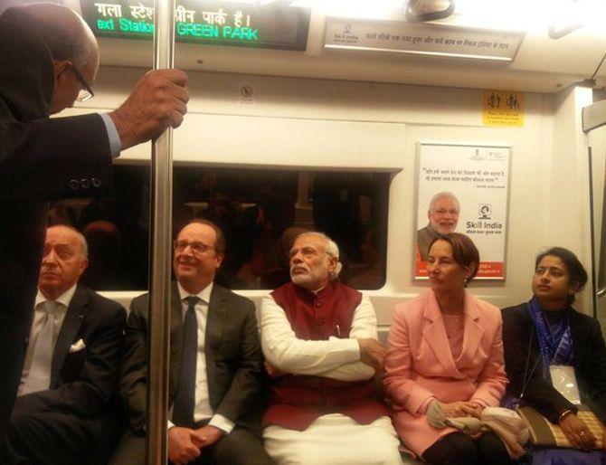 PHOTOS: Hollande's 'metro pe charcha' with PM Modi