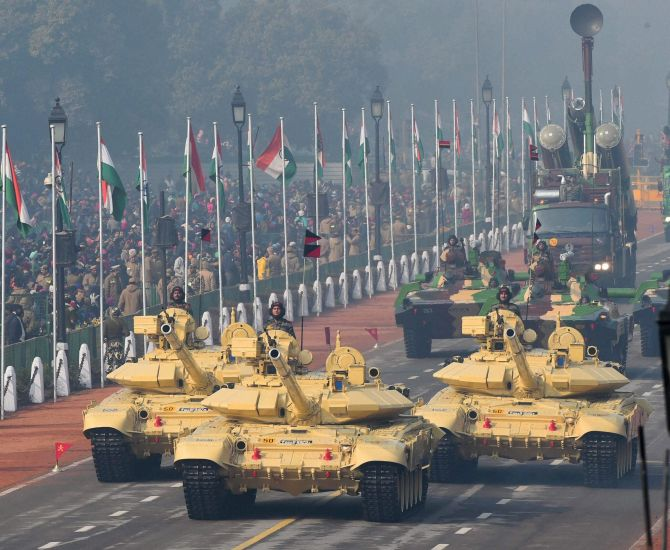 Army tanks roll out during the rehearsal for Republic Day 2016. Photograph: Shahbaz Khan/PTI
