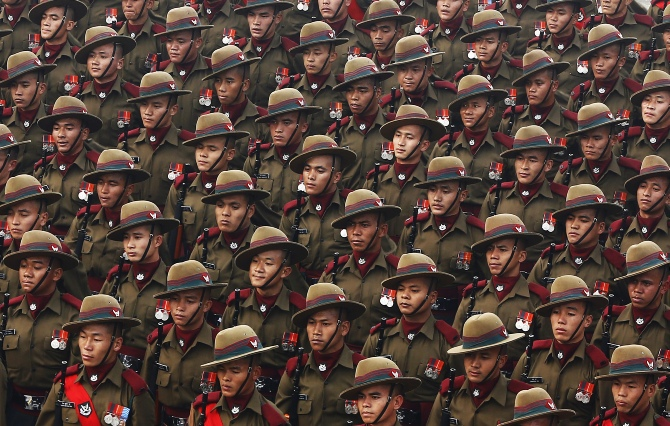 Gorkha soldiers in the Republic Day parade