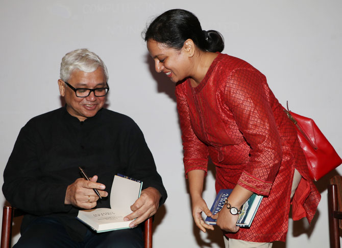 Amitav Ghosh at the launch of his latest book, The Great Derangement.
