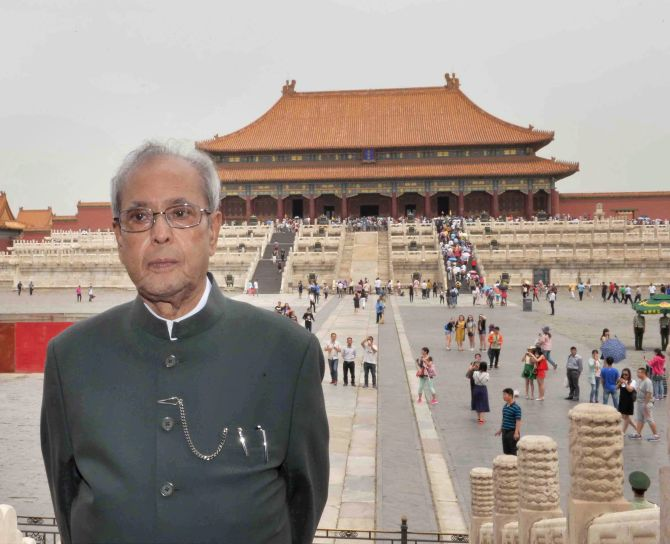 President Pranab Mukherjee visiting the Forbidden City in Beijing. Photograph: PTI