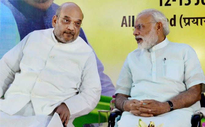 Prime Minister Narendra D Modi and Bharatiya Janata Party President Amit A Shah at the BJP's national executive meeting in Allahabad, June 2016. Photograph: PTI Photo