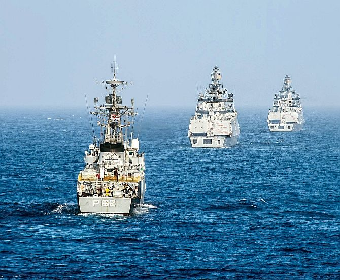 The Indian Navy Kora-class corvette INS Kirch and Shivalik-class stealth multi-role frigates INS Sahyadri and INS Satpura conduct a live-fire surface gun exercise during Malabar 2016. Photograph: Petty Officer 2nd Class Ryan Batchelder/US Navy