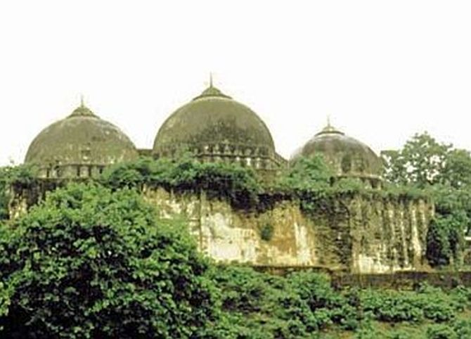 The Babri Masjid in Ayodhya before it was brought down on December 6, 1992.