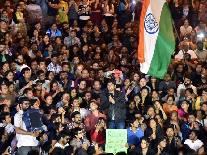 Jawaharlal Nehru University Students Union President Kanhaiya Kumar delivers a memorable speech after he returned to campus on Thursday, March 3, 2016.