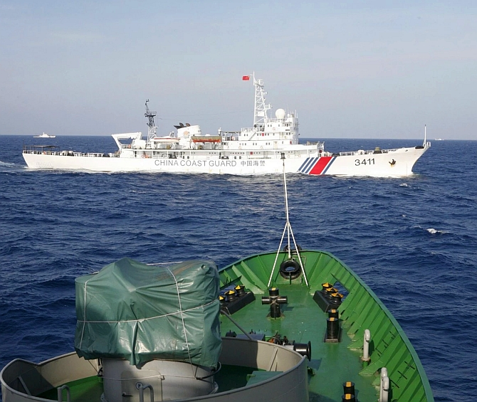 A Chinese ship on the South China Sea