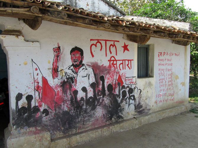 The graffiti on the front wall of Kanhaiya's Kumar's village home in Bihat