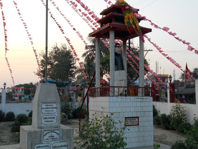 The memorial to Communist stalwarts in Bihat bazaar