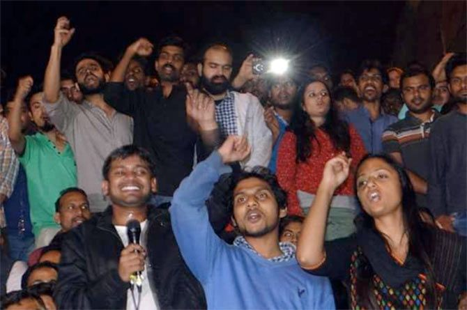 In this photograph dated March 4, 2016, the day Kanhaiya Kumar, extreme left in black jacket, was released on bail, Shehla Rashid is seen cheering Kumar along with Rama Naga.