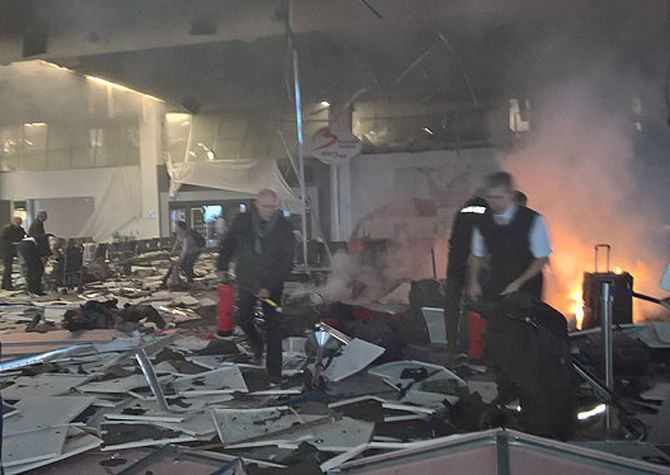 The scene at Brussels airport soon after the explosion. Photograph: Pavel Ohal