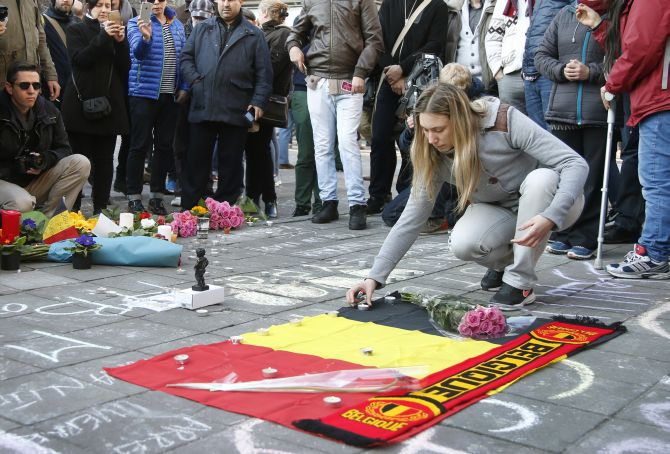 A memorial in Brussels following the March 22 terror attacks. Photograph: Charles Platiaue/Reuters