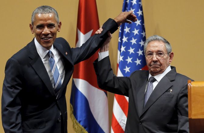 US President Barack Obama and Cuban President Raul Castro in Havana. Photograph: Carlos Barria/ Reuters