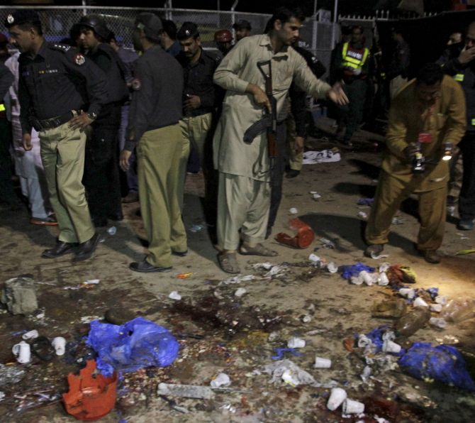 The aftermath of the terrorist attack at a public park in Lahore, March 27, 2016. Photograph: Mohsin Raza/Reuters