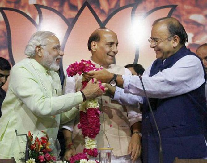 Modi with Rajnath Singh and Arun Jaitley