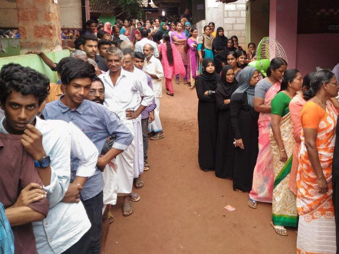 Voters at a polling station