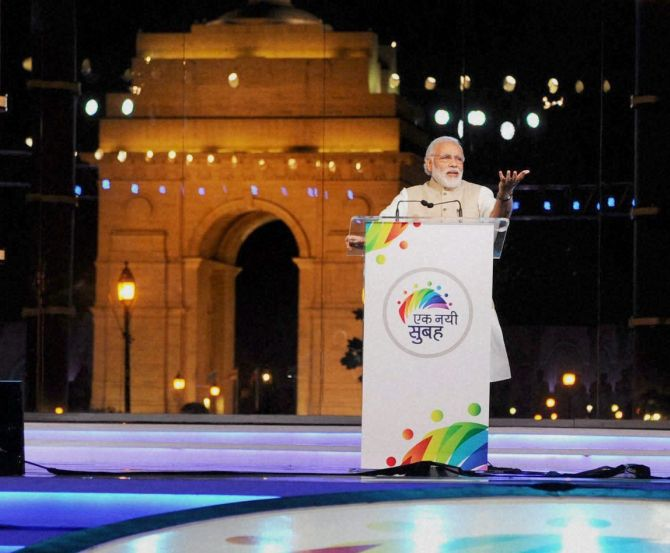 Prime Minister Narendra Modi addresses the Ek Nayi Subah event on the completion of two years of his government at India Gate in New Delhi, May 28, 2016. Photograph: PTI/PIB