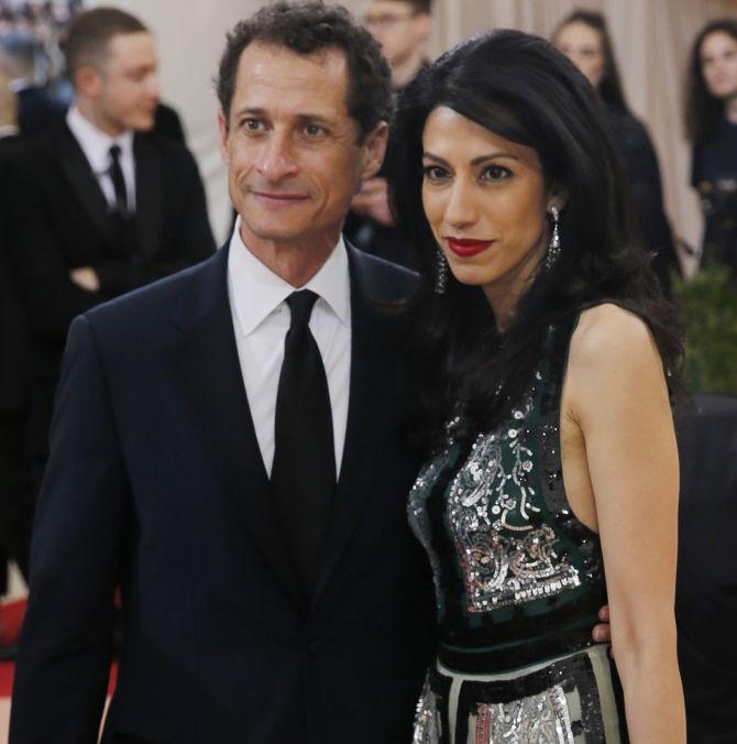 Anthony Weiner and Huma Abedin arrive at the Metropolitan Museum of Art Costume Institute Gala, New York, May 2, 2016. Photograph: Eduardo Munoz/Reuters