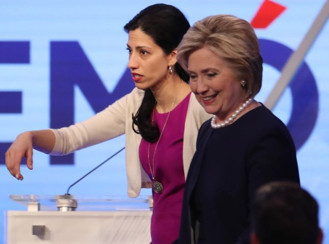 Hillary Clinton with Huma Abedin in Kendall, Florida, March 9, 2016. Photograph: Carlo Allegri