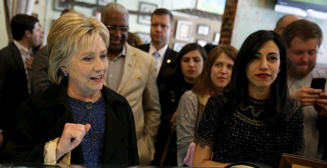 Hillary Clinton and Huma Abedin order coffee at the Urban Standard cafe in Birmingham, Alabama, February 27, 2016. Photograph: Jonathan Ernst/Reuters