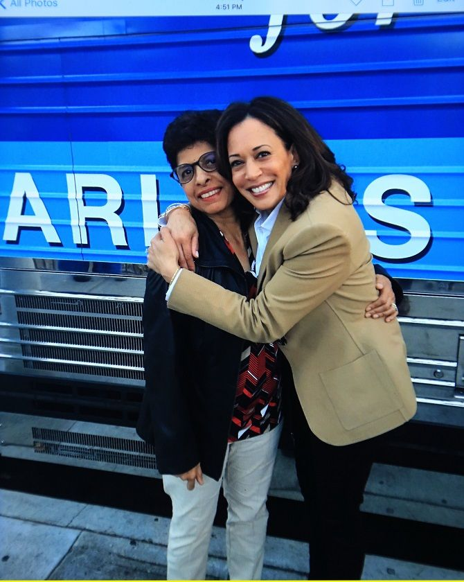 Kamala Harris with her youngest aunt Mahalakshmi