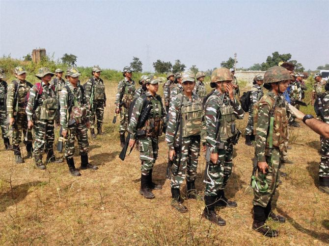 CRPF deployed women commandos in anti-Naxal operation for the first time in Ranchi, Jharkhand. Photograph: PTI Photo