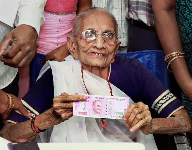 Hiraba Modi, the prime minister's mother, after she exchanged Rs 500 and Rs 1,000 at a Gandhinagar bank.