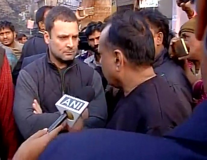 Rahul meets people in ATM queue early morning in Delhi
