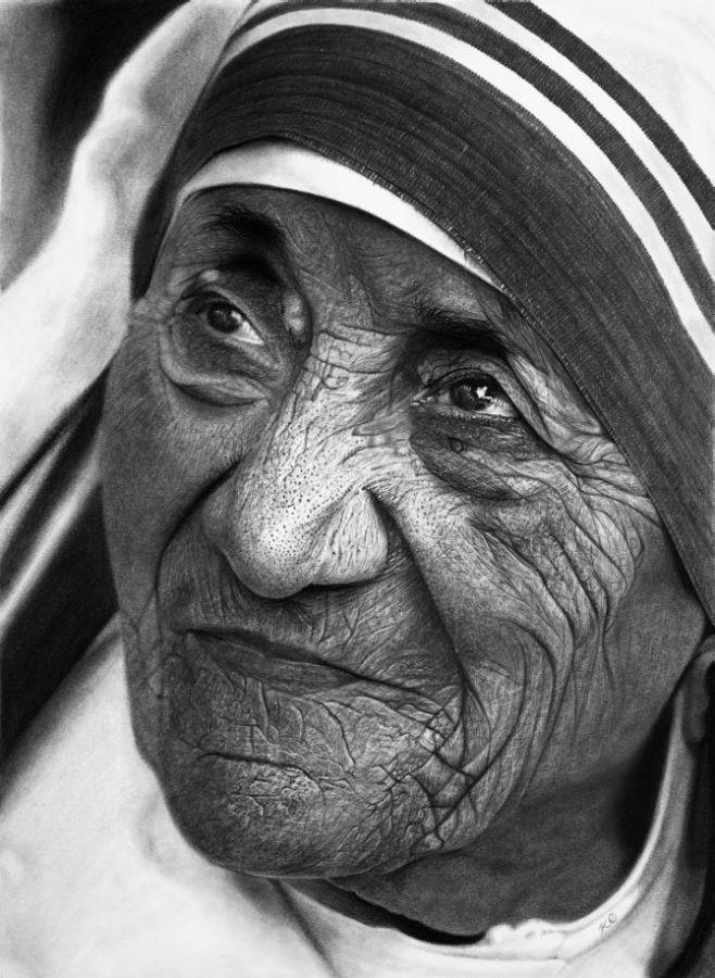 pencil drawings kelvin okafor teresa mother drawing portrait stunning rediff these india retrospective his exhibition