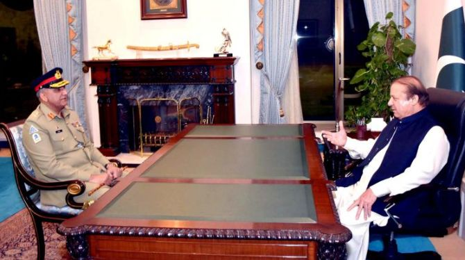 Pakistan army chief General Qamar Bajwa with Prime Minister Nawaz Sharif
