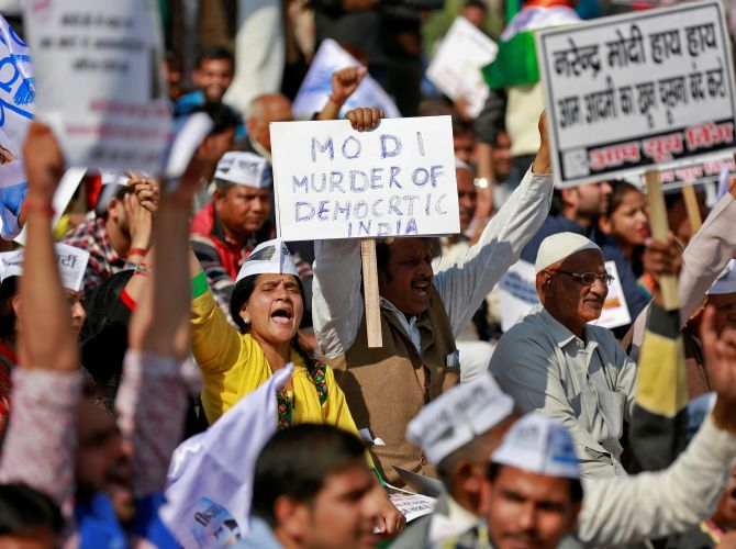 A protest against demonetisation in central Delhi, November 28, 2016. Photograph: Cathal McNaughton/Reuters