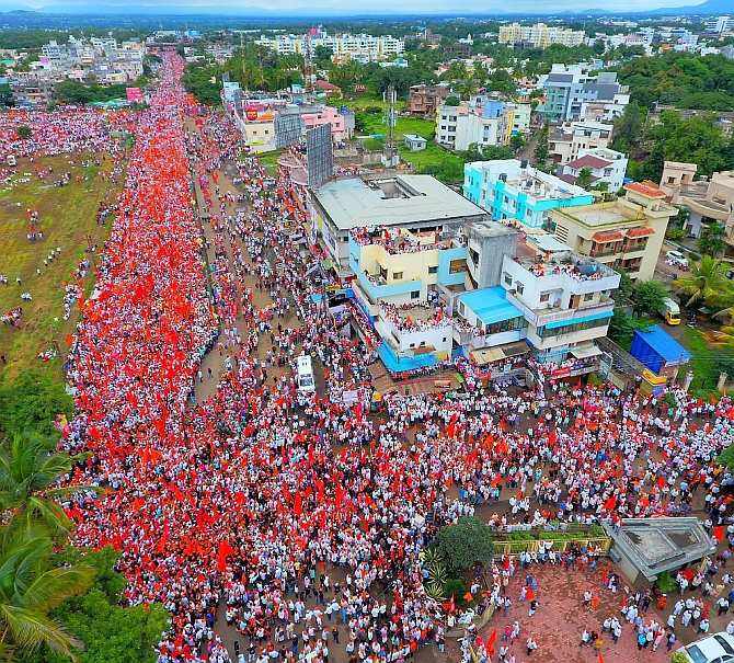 The Maratha rally in Satara. Photograph: PTI