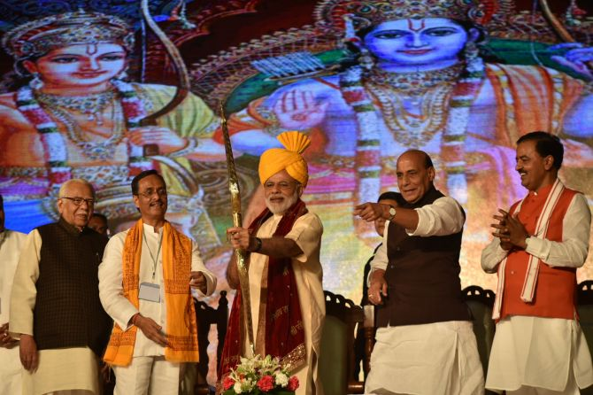 Prime Minister Narendra Modi at the Aishbagh Ramleela in Lucknow on Dussera 2016. Photograph: Press Information Bureau