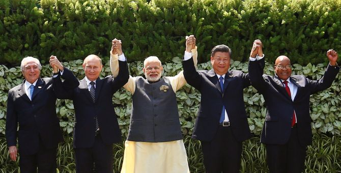 Brazil's President Michel Temer, Russian President Vladimir Putin, Indian Prime Minister Narendra Modi, Chinese President Xi Jinping and South African President Jacob Zuma at the BRICS summit in Goa. Photograph: Danish Siddiqui/Reuters