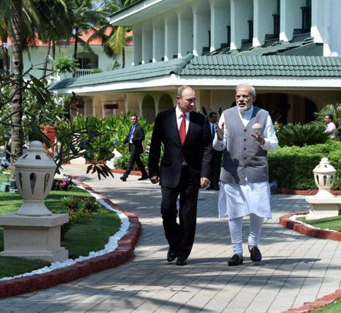 Prime Minister Narendra Modi and Russian President Vladimir Putin after India and Russia signed 16 key pacts. Photograph: PTI Photo