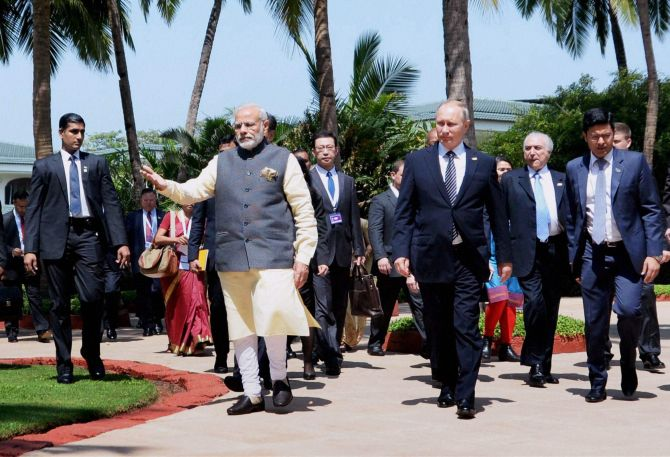 PM Modi with Russian President Vladimir Putin and Brazilian President Michel Temer at the BRICS Summit in Benaulim, Goa. Photograph: PTI Photo